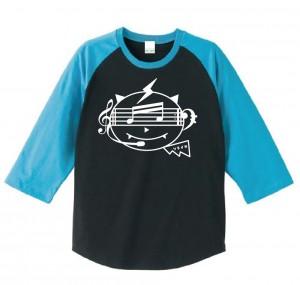 Tシャツ003七分丈水色黒